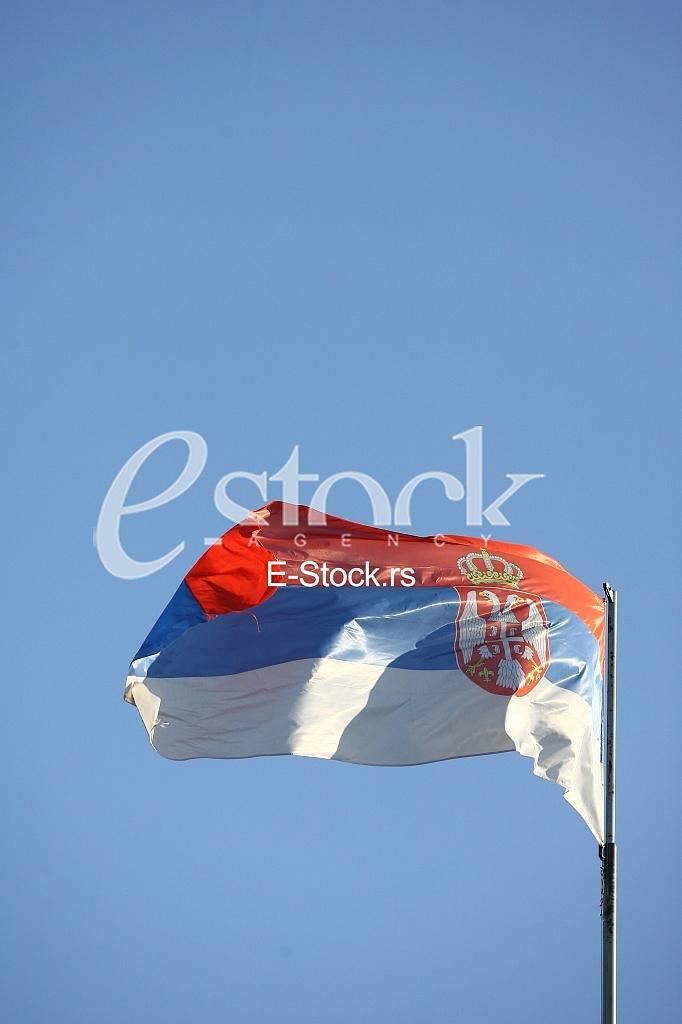 Serbian flag waving in wind