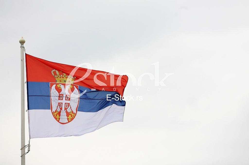 flag of Serbia in the wind, zastava srbije viori na vetru